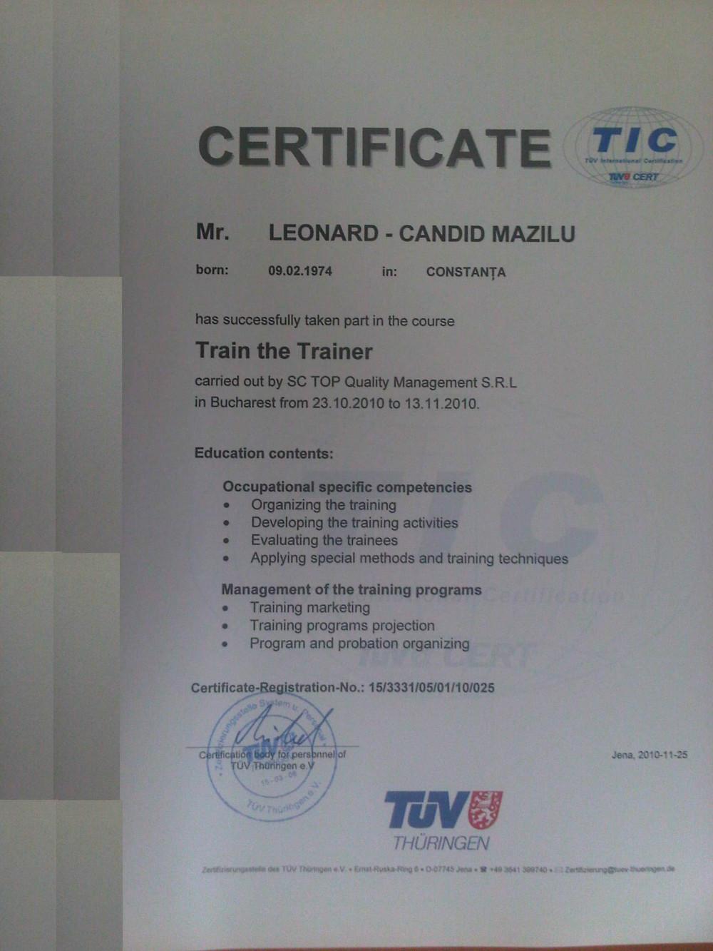 cv leonard mazilu curriculum vitae certificat
